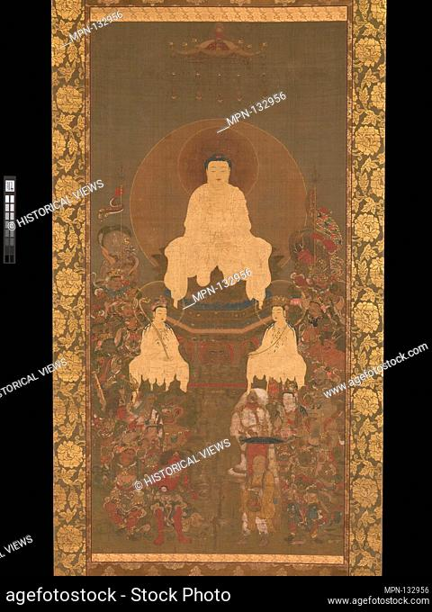 Artist: Unidentified Artist Japanese; Period: Nanbokucho period (1336-92); Date: late 14th century; Culture: Japan; Medium: Hanging scroll; ink, color, gold