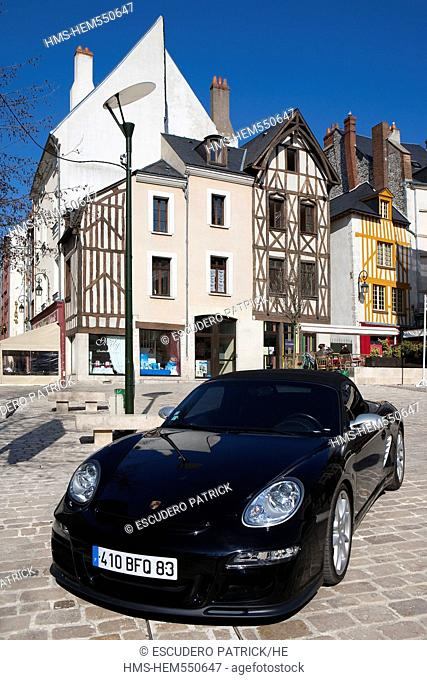 France, Loiret, Orleans, a Porche on the Place du Chatelet Chatelet square and facade of half timbered houses