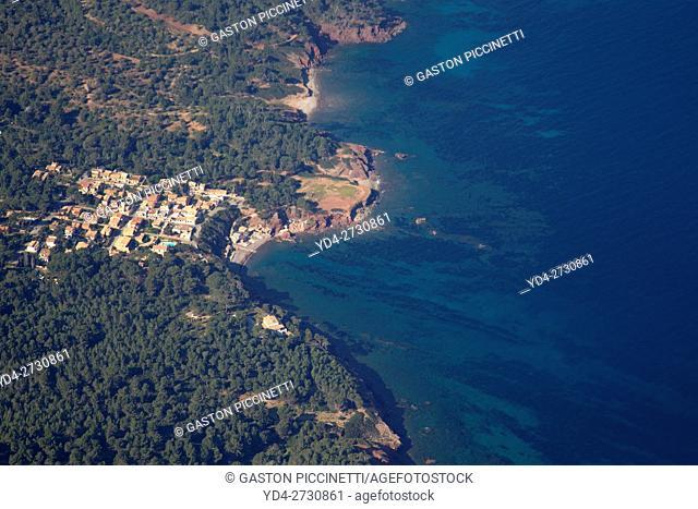 Aerial view of the coast of Majorca, Balearic island, Spain