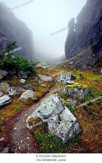 Misty path at Aku-Aku Ravine, Khibiny mountains, Kola Peninsula, Russia