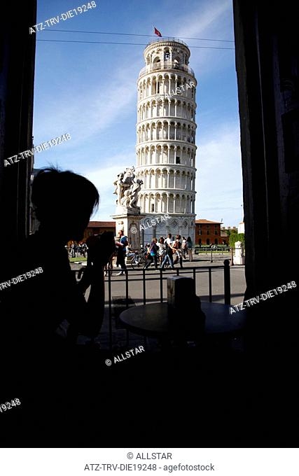 WOMAN SILHOUETTE & THE LEANING TOWER; PISA, TUSCANY, ITALY; 09/05/2012