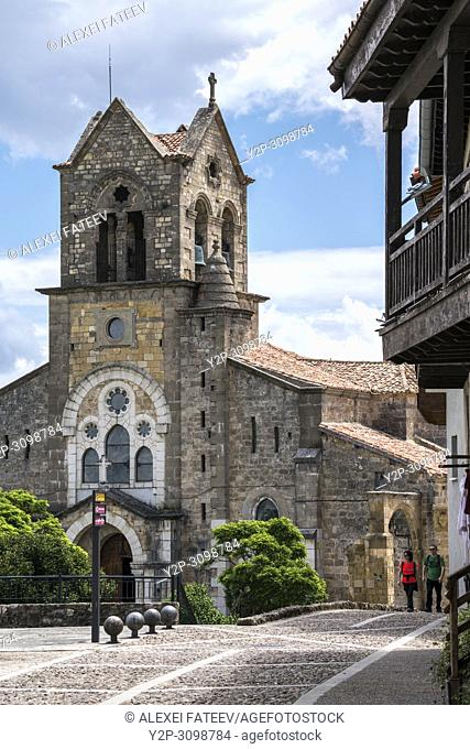 San Vicente church in a small town Frías, province of Burgos, Castile and Leon, Spain