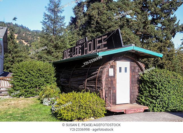 The One-Log House was created in 1946 from a redwood tree that was over 2100 years old. Garberville, California, United States