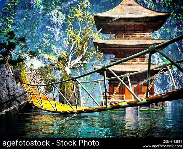Buddhist temple in mountains with old Japanese rope bridge