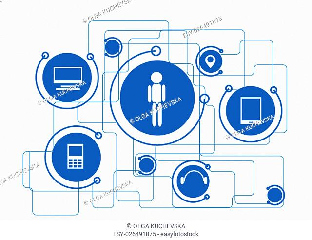 internet signs. Internet of things concept - icon connect together