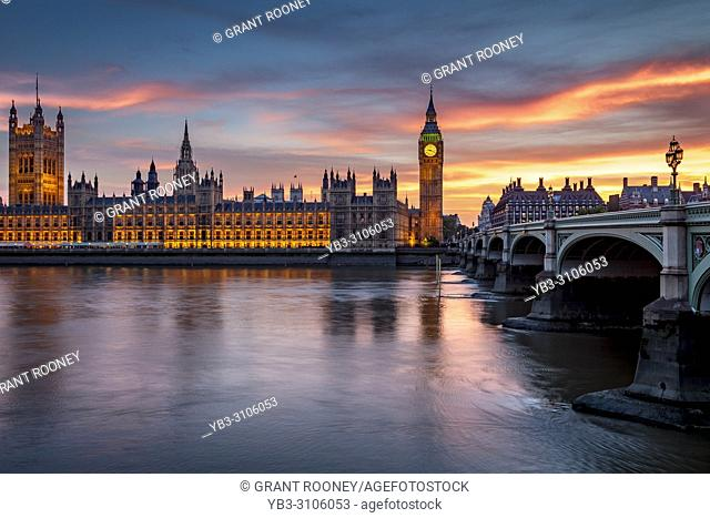 Big Ben, The Houses of Parliament and River Thames, London, UK