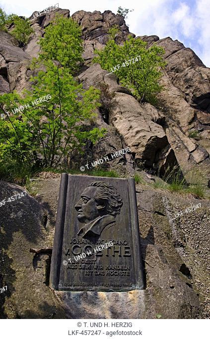 Goethe Rocks with inscript, Bode gorge near Thale, Harz, Saxony-Anhalt, Germany, Europe