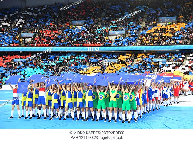 Pictures of the opening ceremony of the Women's Football World Cup 2019 - dancing children in the colors of the participating nations, 07.06