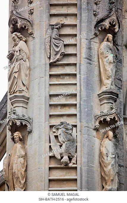 The southern column depict Oliver King's dream during his visit in Bath in 1499. In his dream he say Heavenly host on high with angels ascending by ladder