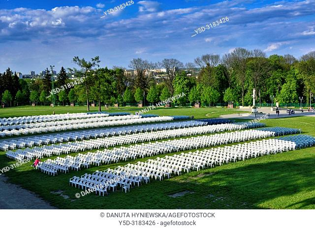 Outdoor chairs prepared for the mass, Jasna Gora - most famous Polish pilgrimage site, Sanctuary of Our Lady of Czestochowa - Queen of Poland and the Pauline...