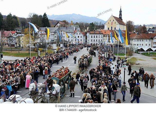 Leonhardifahrt, a procession with horses for the feast day of Saint Leonard of Noblac, Bad Toelz, Upper Bavaria, Bavaria, Germany, Europe