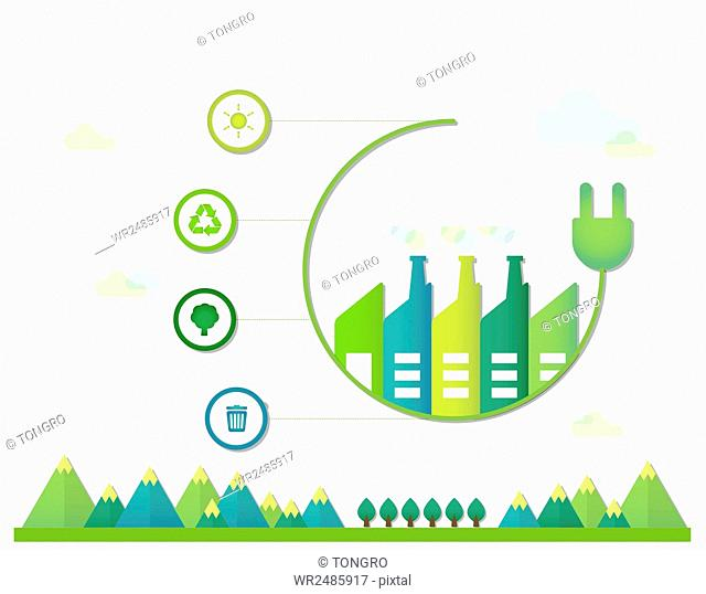 Infographic diagrams of plug and plants with icons related to environmental protection