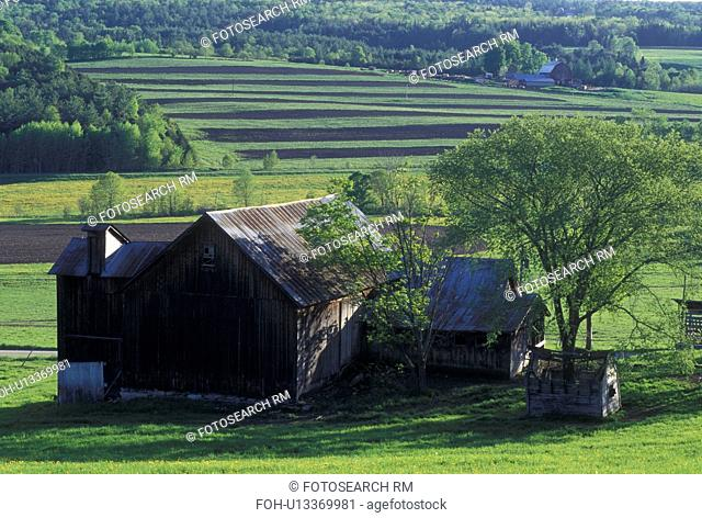 farm, spring, Peacham, VT, Vermont, Scenic farmland with freshly plowed fields in the spring in Peacham