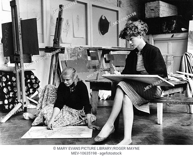 Two young women students sketching in a classroom at Corsham Art School, Wiltshire