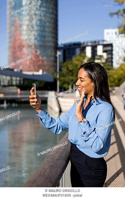 Businesswoman using smartphone