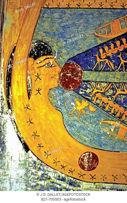 Kings Valley:ceiling of tumb of Ramses Vl. Luxor west bank. Egypt