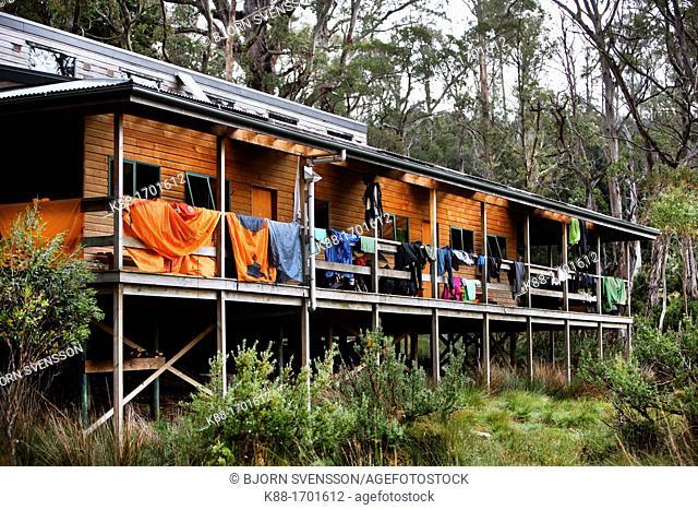 New Pelion Hut, a public accomodation for bushwalkers on the Overland Track  Cradle Mt - Lake St Clair National Park, Tasmania, Australia
