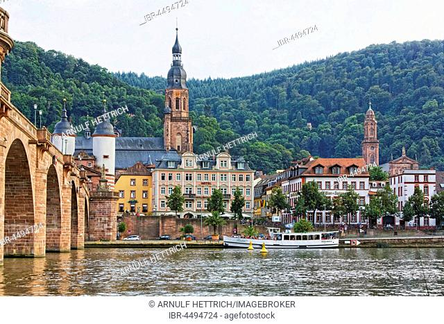 Historic centre with Karl Theodor Bridge, Old Bridge over the Neckar, Heidelberg, Baden-Württemberg, Germany
