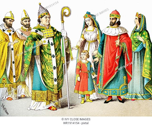 The figures pictured here represent Roman Catholic popes and Venetian nobles around A.D. 1200. They are, from left to right: pope in 1000, pope in 1100