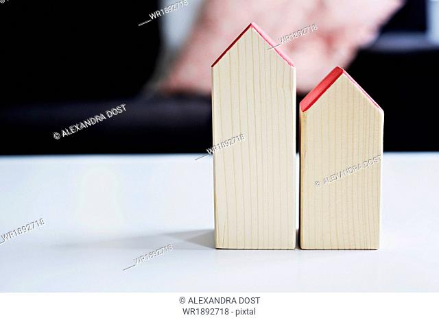 Wooden toy houses, close-up