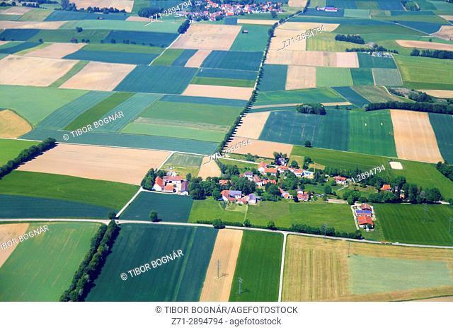 Germany, Bavaria, farmland, villages, aerial view