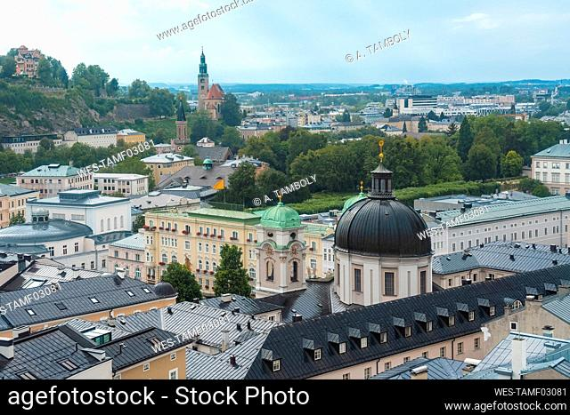 Austria, Salzburg State, Salzburg, Historical old town with Holy Trinity Roman Catholic Church in foreground