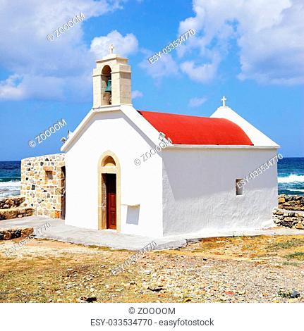 Traditional greek church in Chersonissos, Crete island, Greece
