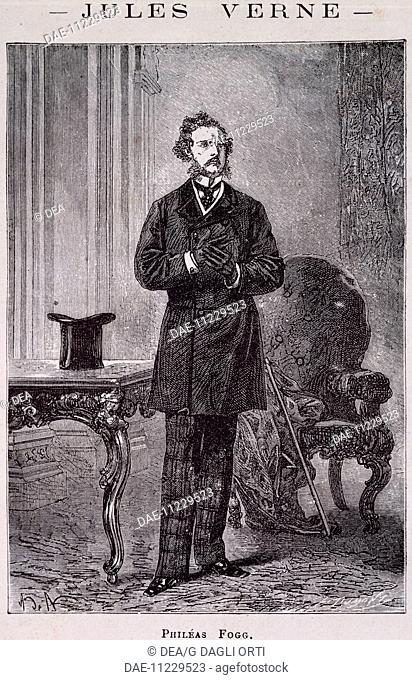 Phileas Fogg, illustration for Around the World in 80 Days, 1873 novel by Jules Verne (1828-1905).  Private Collection