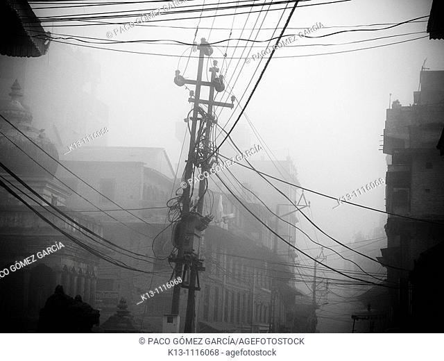 Power lines by Durbar Square, Patan, Kathmandu valley, Nepal