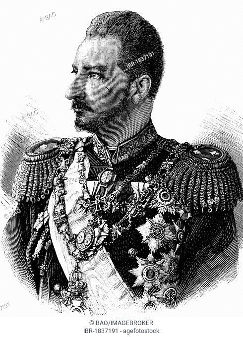 Ferdinand I of Bulgaria, 1861 - 1948, Prince and King of Bulgaria, historical illustration circa 1893