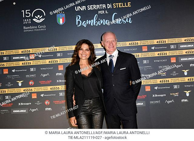 Tosca D'Aquino with husband Massimo Martino during the charity show ' Una serata di stelle' for the Hospital Bambino Gesu', Paul VI Hall, Vatican City