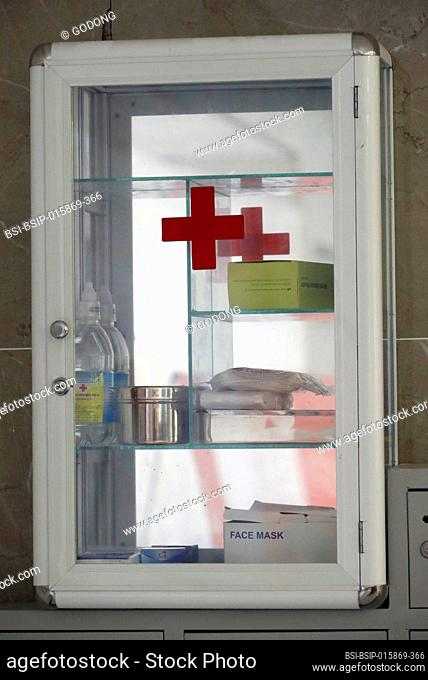 First aid box hanging on the wall. Vung Tau. Vietnam