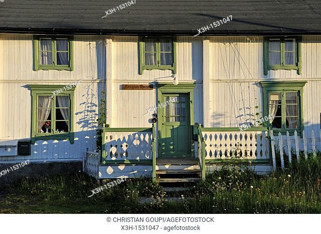 wooden house in Pollen, Solvik Gard, Lyngseidet, Lyngen Alps, region of Lyngen, County of Troms, Norway, Northern Europe