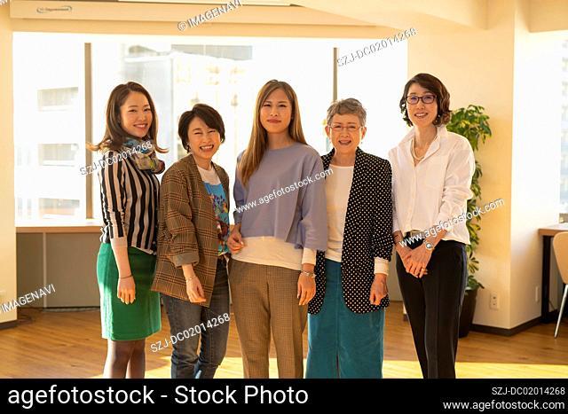 Portrait of multi-generation five women