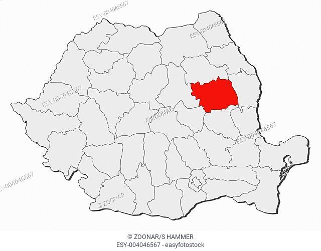 Map of Romania, Bacau highlighted
