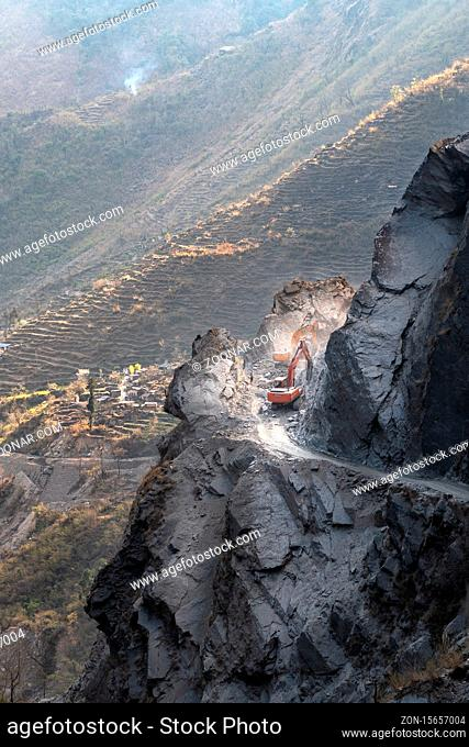 Nepal. The view on Annapurna trail track. Road is blocked by landslide