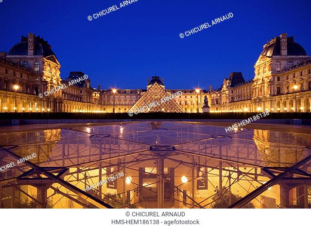 France, Paris, Louvre Museum and the inverted Pyramid by the architect Ieoh Ming Pei