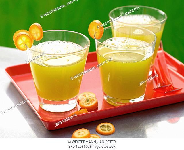A cucumber & melon drink with kumquats