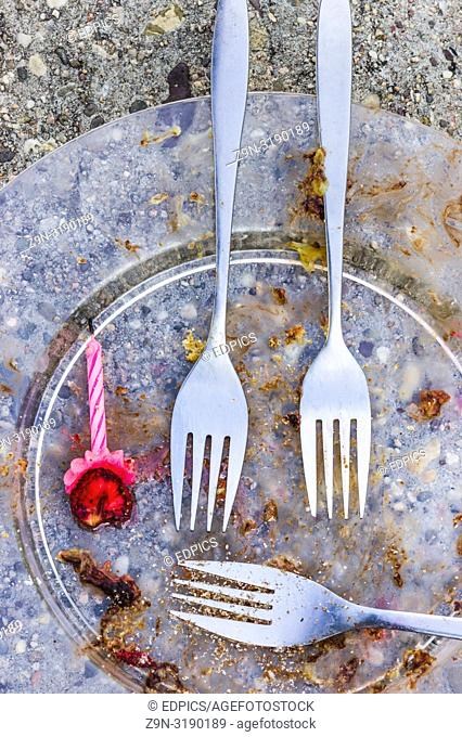 leftovers of a party, plate forks and candle forgotten in a park, stuttgart, baden-wuerttemberg, germany