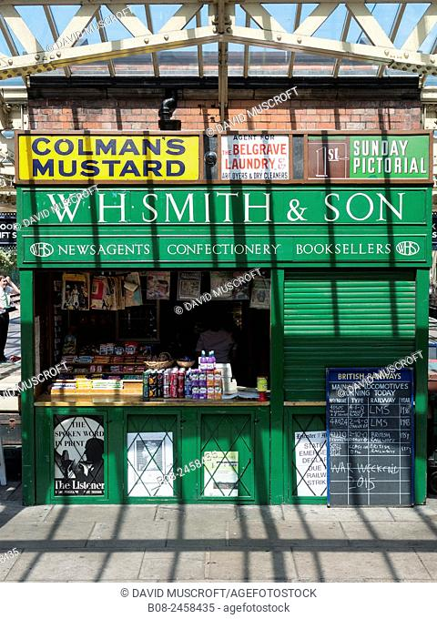 Traditional W H Smith newsagents kiosk on the station platform at Loughborough, on The Great Central Railway, Leicestershire,Britain