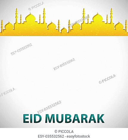 "Mosque """"Eid Mubarak"""" (Blessed Eid) card in vector format"