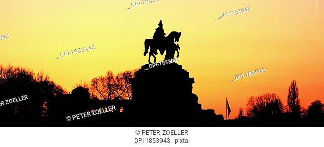 Silhouette of monument to Kaiser Wilhelm, Koblenz, Rheinland-Pfalz, Germany
