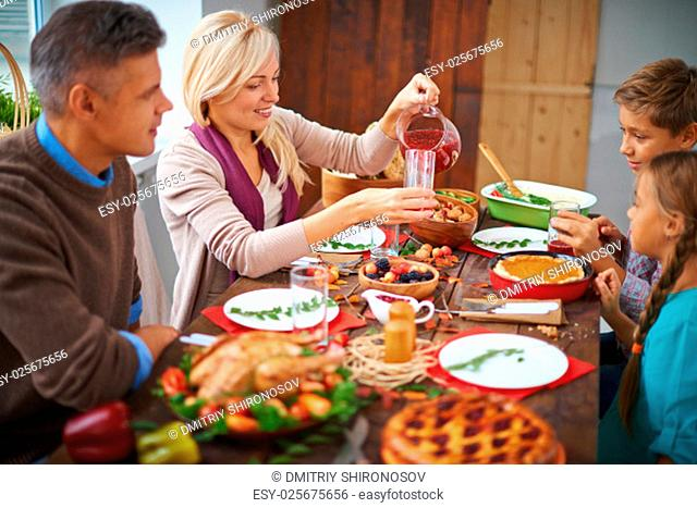 Family dinning together