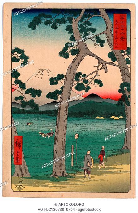 Tokaido hidarifuji, Fuji on the left side of the Tokaido., Ando, Hiroshige, 1797-1858, artist, 1858., 1 print : woodcut, color ; 36 x 24.5 cm