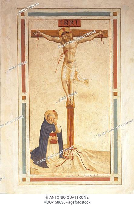 St Dominic Praying at the Foot of the Crucifix, by Guido di Pietro (Piero) known as Beato Angelico, 1438 - 1446, 15th Century, fresco