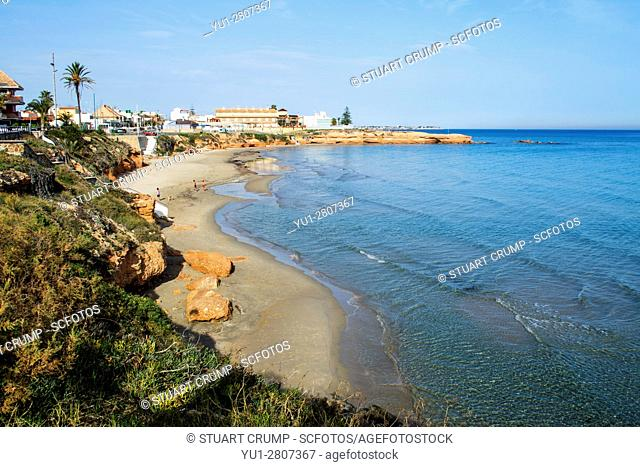 Mediteranian Sea laps on the beach at Torre de la Horadada on the Costa Blanca in Spain