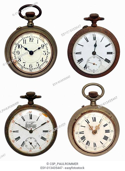 set of four old pocket watches, iso
