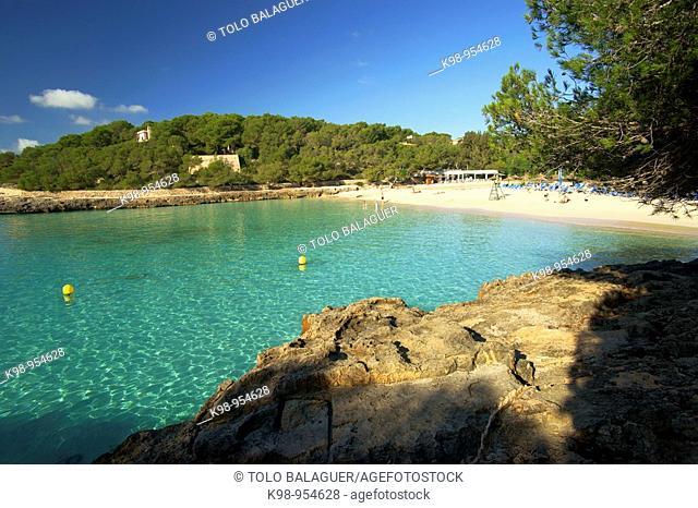 Ses Fonts de n'Alis beach, Cala Mondrago, Mondrago Natural Park, Santanyi. Migjorn, Majorca, Balearic Islands, Spain