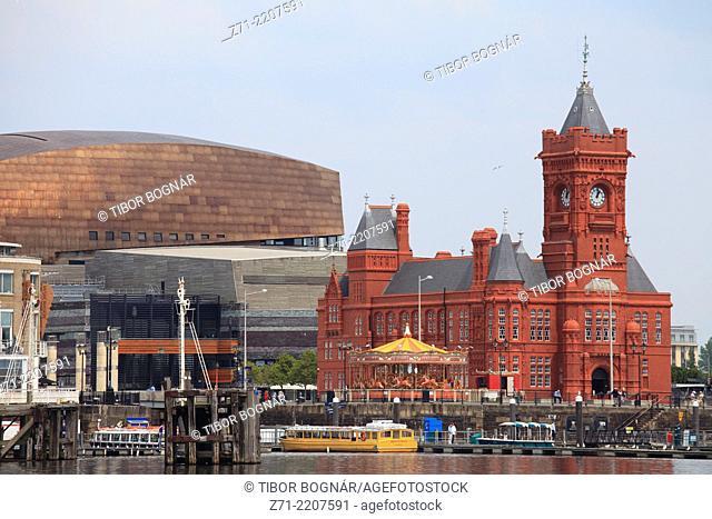 UK, Wales, Cardiff, Bay, Pierhead Building, Millennium Centre,