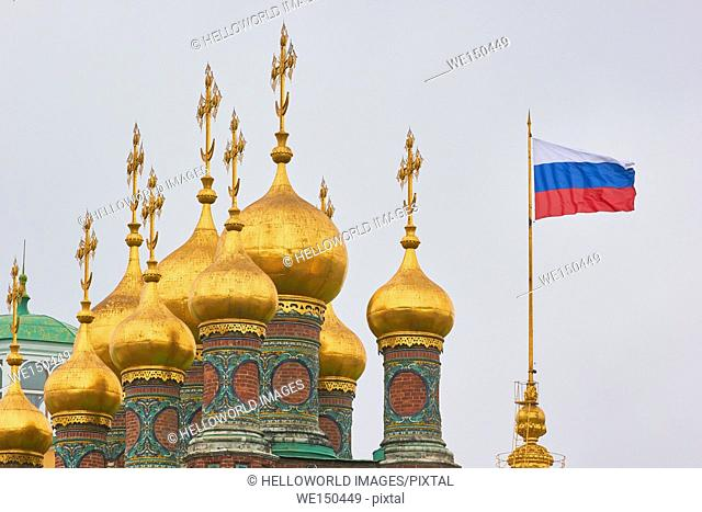 Cupolas of the Terem Palace Churches, Kremlin, Moscow, Russia